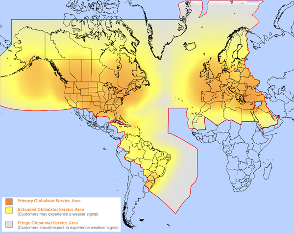Globalstar Home Area Coverage Map